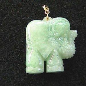 14k Yellow Gold Jade Reversible Elephant Pendant